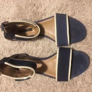 Rachel Zoe Gracie Navy Blue and White Flat Sandal